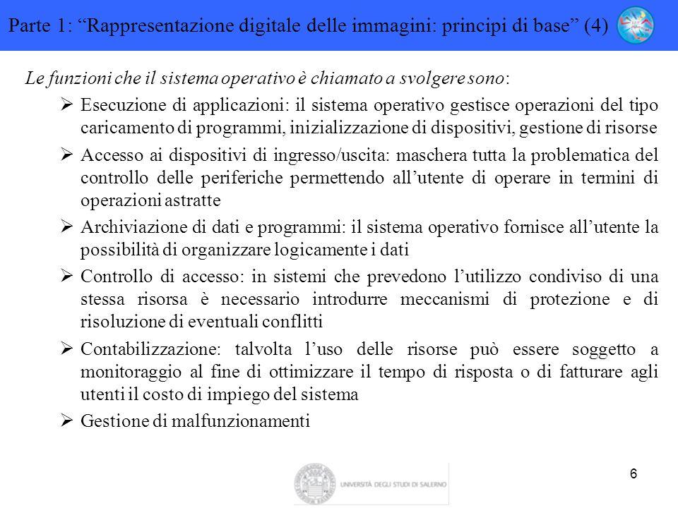 """6 Parte 1: """"Rappresentazione digitale delle immagini: principi di base"""" (4) Le funzioni che il sistema operativo è chiamato a svolgere sono:  Esecuzi"""