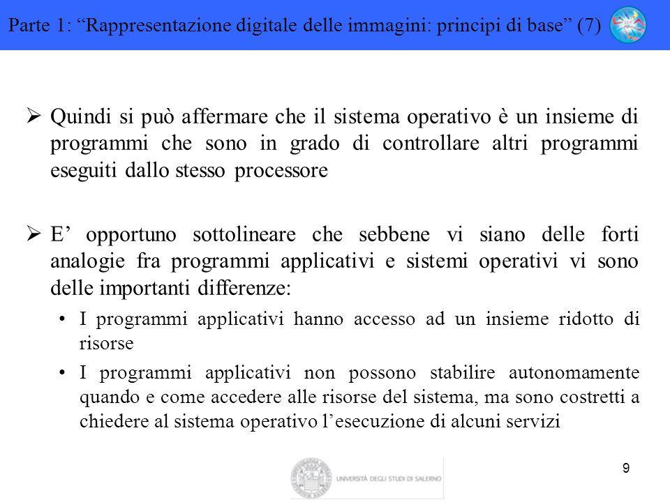 9  Quindi si può affermare che il sistema operativo è un insieme di programmi che sono in grado di controllare altri programmi eseguiti dallo stesso