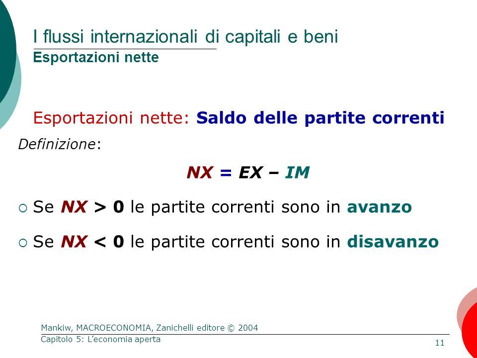 Mankiw, MACROECONOMIA, Zanichelli editore © 2004 11 Capitolo 5: L'economia aperta I flussi internazionali di capitali e beni Esportazioni nette Esportazioni nette: Saldo delle partite correnti Definizione: NX = EX – IM  Se NX > 0 le partite correnti sono in avanzo  Se NX < 0 le partite correnti sono in disavanzo