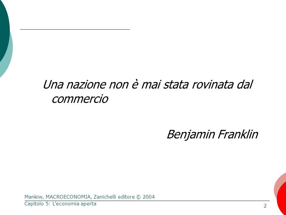 Mankiw, MACROECONOMIA, Zanichelli editore © 2004 43 Capitolo 5: L'economia aperta La politica commerciale Non cambia la bilancia commerciale Rende il paese più chiuso: si riducono sia le importazioni sia le esportazioni.