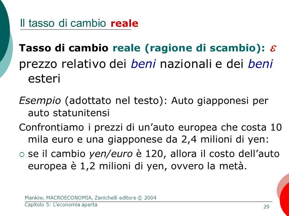 Mankiw, MACROECONOMIA, Zanichelli editore © 2004 29 Capitolo 5: L'economia aperta Il tasso di cambio reale Tasso di cambio reale (ragione di scambio):  prezzo relativo dei beni nazionali e dei beni esteri Esempio (adottato nel testo) : Auto giapponesi per auto statunitensi Confrontiamo i prezzi di un'auto europea che costa 10 mila euro e una giapponese da 2,4 milioni di yen:  se il cambio yen/euro è 120, allora il costo dell'auto europea è 1,2 milioni di yen, ovvero la metà.