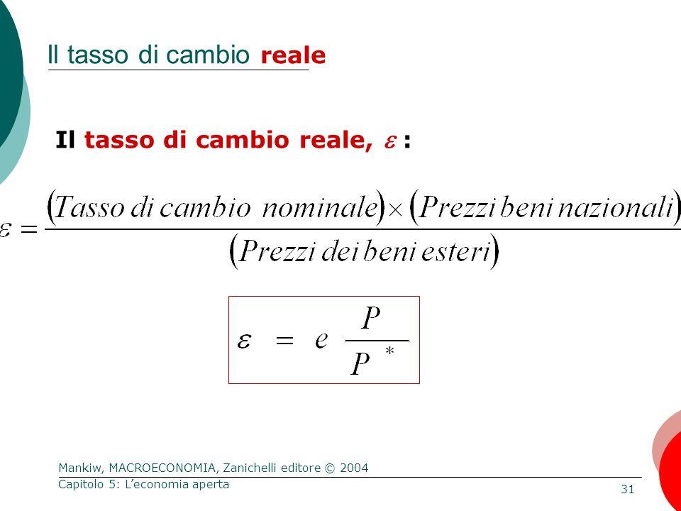 Mankiw, MACROECONOMIA, Zanichelli editore © 2004 31 Capitolo 5: L'economia aperta Il tasso di cambio reale Il tasso di cambio reale,  :