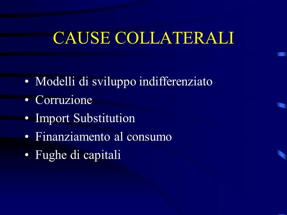 CAUSE COLLATERALI Modelli di sviluppo indifferenziato Corruzione Import Substitution Finanziamento al consumo Fughe di capitali
