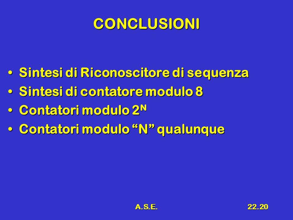 A.S.E.22.20 CONCLUSIONI Sintesi di Riconoscitore di sequenzaSintesi di Riconoscitore di sequenza Sintesi di contatore modulo 8Sintesi di contatore modulo 8 Contatori modulo 2 NContatori modulo 2 N Contatori modulo N qualunqueContatori modulo N qualunque