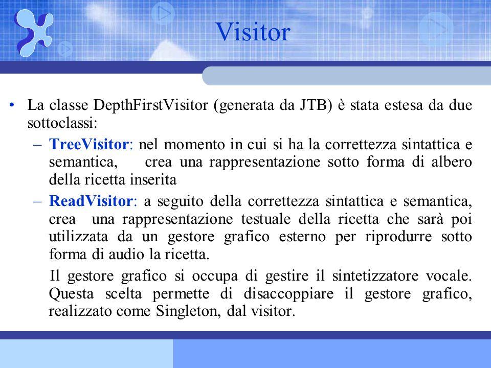 La classe DepthFirstVisitor (generata da JTB) è stata estesa da due sottoclassi: –TreeVisitor: nel momento in cui si ha la correttezza sintattica e se
