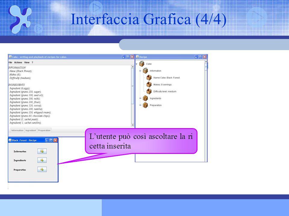Interfaccia Grafica (4/4) L'utente può così ascoltare la ri cetta inserita