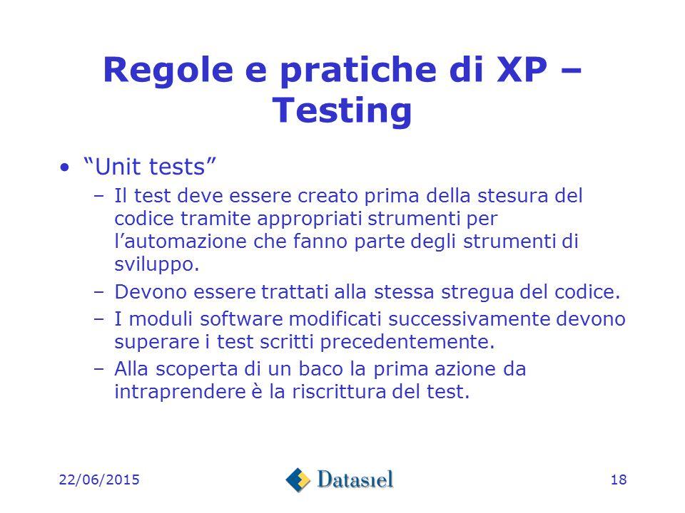 22/06/201517 Regole e pratiche di XP – Progettazione Simplicity –Contenere sempre le singole unità di lavoro entro certi limiti aiuta la pianificazione, il test e lo sviluppo.