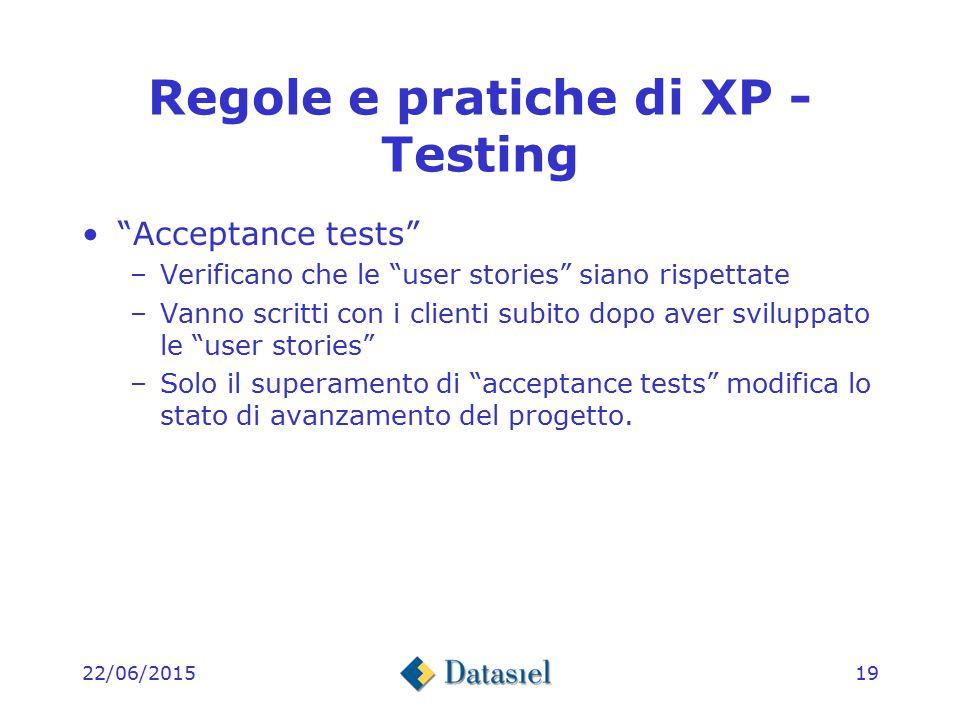 22/06/201518 Regole e pratiche di XP – Testing Unit tests –Il test deve essere creato prima della stesura del codice tramite appropriati strumenti per l'automazione che fanno parte degli strumenti di sviluppo.