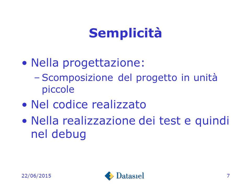 22/06/20157 Semplicità Nella progettazione: –Scomposizione del progetto in unità piccole Nel codice realizzato Nella realizzazione dei test e quindi nel debug