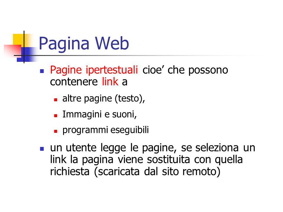 Pagina Web Pagine ipertestuali cioe' che possono contenere link a altre pagine (testo), Immagini e suoni, programmi eseguibili un utente legge le pagine, se seleziona un link la pagina viene sostituita con quella richiesta (scaricata dal sito remoto)