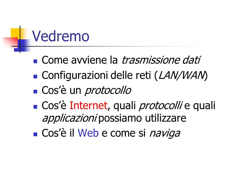 Vedremo Come avviene la trasmissione dati Configurazioni delle reti (LAN/WAN) Cos'è un protocollo Cos'è Internet, quali protocolli e quali applicazioni possiamo utilizzare Cos'è il Web e come si naviga