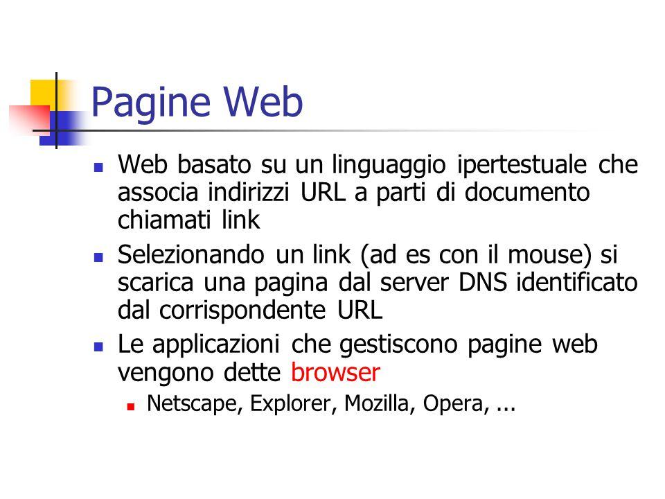 Pagine Web Web basato su un linguaggio ipertestuale che associa indirizzi URL a parti di documento chiamati link Selezionando un link (ad es con il mouse) si scarica una pagina dal server DNS identificato dal corrispondente URL Le applicazioni che gestiscono pagine web vengono dette browser Netscape, Explorer, Mozilla, Opera,...