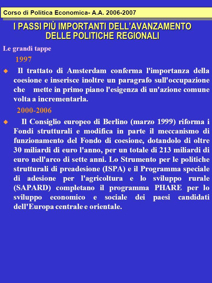 I PASSI PIÙ IMPORTANTI DELL'AVANZAMENTO DELLE POLITICHE REGIONALI Le grandi tappe 1997  Il trattato di Amsterdam conferma l importanza della coesione e inserisce inoltre un paragrafo sull occupazione che mette in primo piano l esigenza di un azione comune volta a incrementarla.