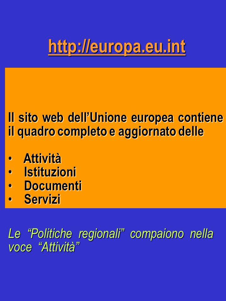 http://europa.eu.int Il sito web dell'Unione europea contiene il quadro completo e aggiornato delle Attività Attività Istituzioni Istituzioni Documenti Documenti Servizi Servizi Le Politiche regionali compaiono nella voce Attività
