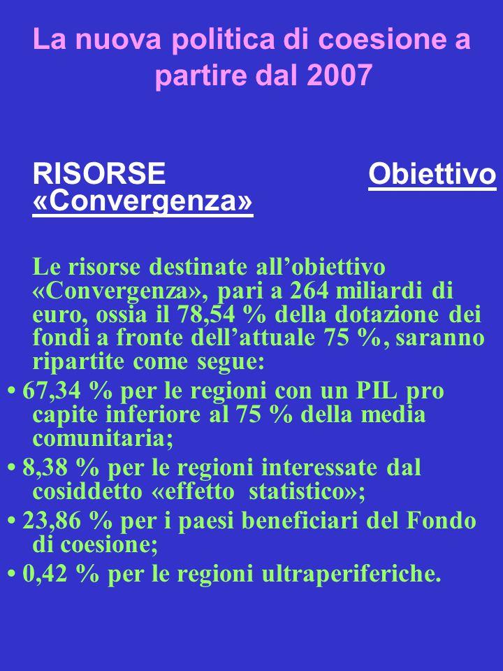 La nuova politica di coesione a partire dal 2007 RISORSE Obiettivo «Convergenza» Le risorse destinate all'obiettivo «Convergenza», pari a 264 miliardi di euro, ossia il 78,54 % della dotazione dei fondi a fronte dell'attuale 75 %, saranno ripartite come segue: 67,34 % per le regioni con un PIL pro capite inferiore al 75 % della media comunitaria; 8,38 % per le regioni interessate dal cosiddetto «effetto statistico»; 23,86 % per i paesi beneficiari del Fondo di coesione; 0,42 % per le regioni ultraperiferiche.