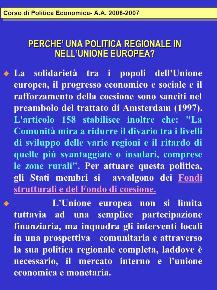 Grafico disparità nel 1997: EUROPA - Politica regionale Inforegio Corso di Politica Economica- A.A.