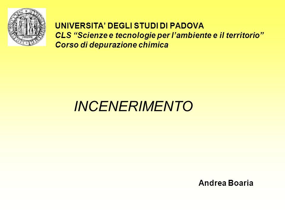"""UNIVERSITA' DEGLI STUDI DI PADOVA CLS """"Scienze e tecnologie per l'ambiente e il territorio"""" Corso di depurazione chimica INCENERIMENTO Andrea Boaria"""