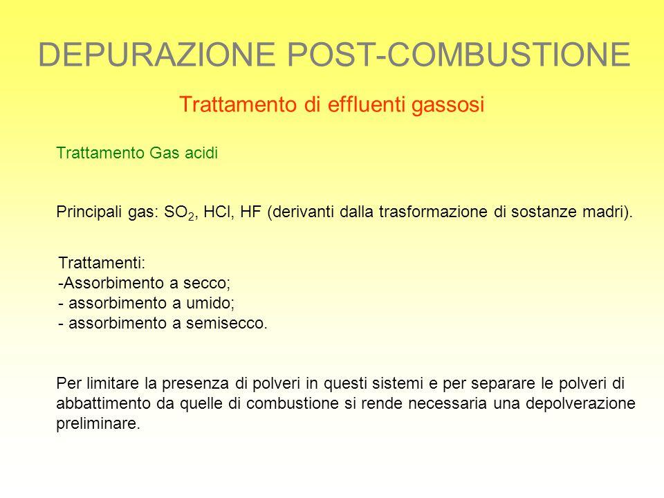 DEPURAZIONE POST-COMBUSTIONE Trattamento di effluenti gassosi Trattamento Gas acidi Principali gas: SO 2, HCl, HF (derivanti dalla trasformazione di s