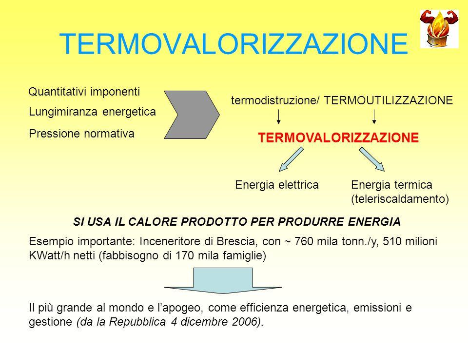 TERMOVALORIZZAZIONE Quantitativi imponenti Lungimiranza energetica Pressione normativa termodistruzione/ TERMOUTILIZZAZIONE TERMOVALORIZZAZIONE Energi