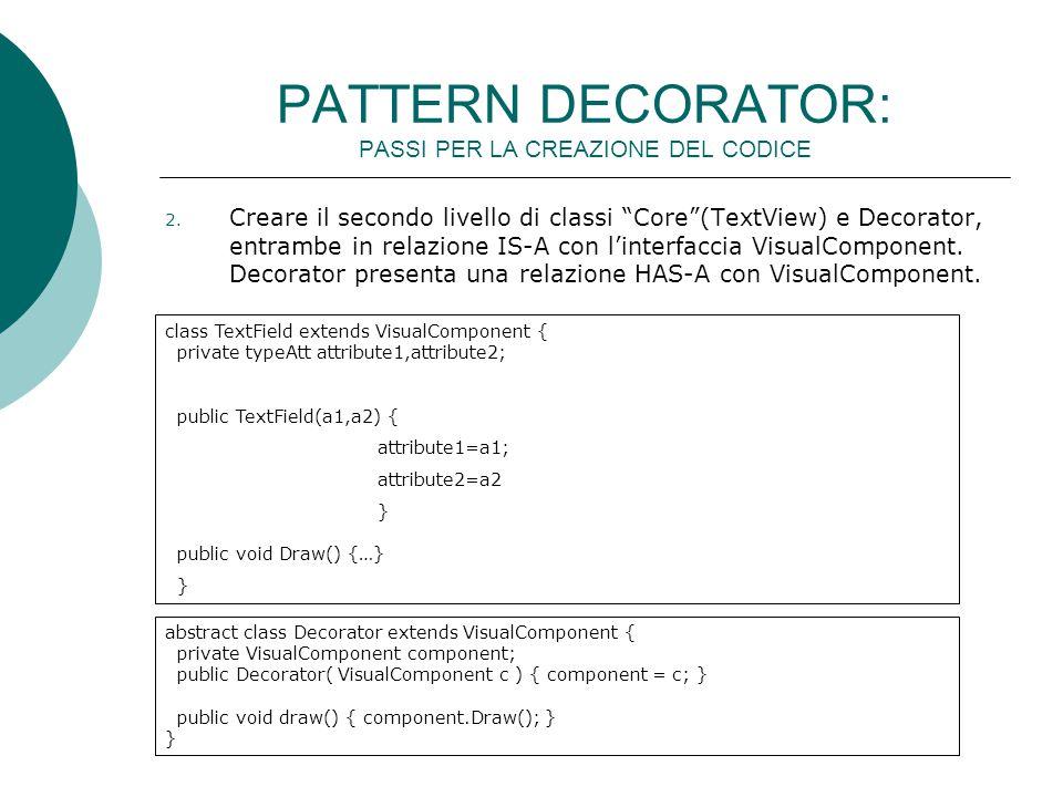 """PATTERN DECORATOR: PASSI PER LA CREAZIONE DEL CODICE 2. Creare il secondo livello di classi """"Core""""(TextView) e Decorator, entrambe in relazione IS-A c"""