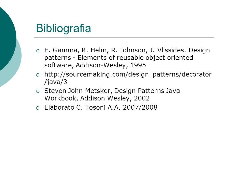 Bibliografia  E. Gamma, R. Helm, R. Johnson, J.