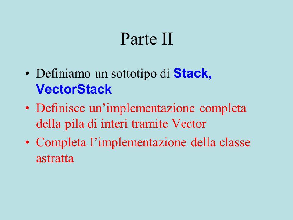 Parte II Definiamo un sottotipo di Stack, VectorStack Definisce un'implementazione completa della pila di interi tramite Vector Completa l'implementazione della classe astratta