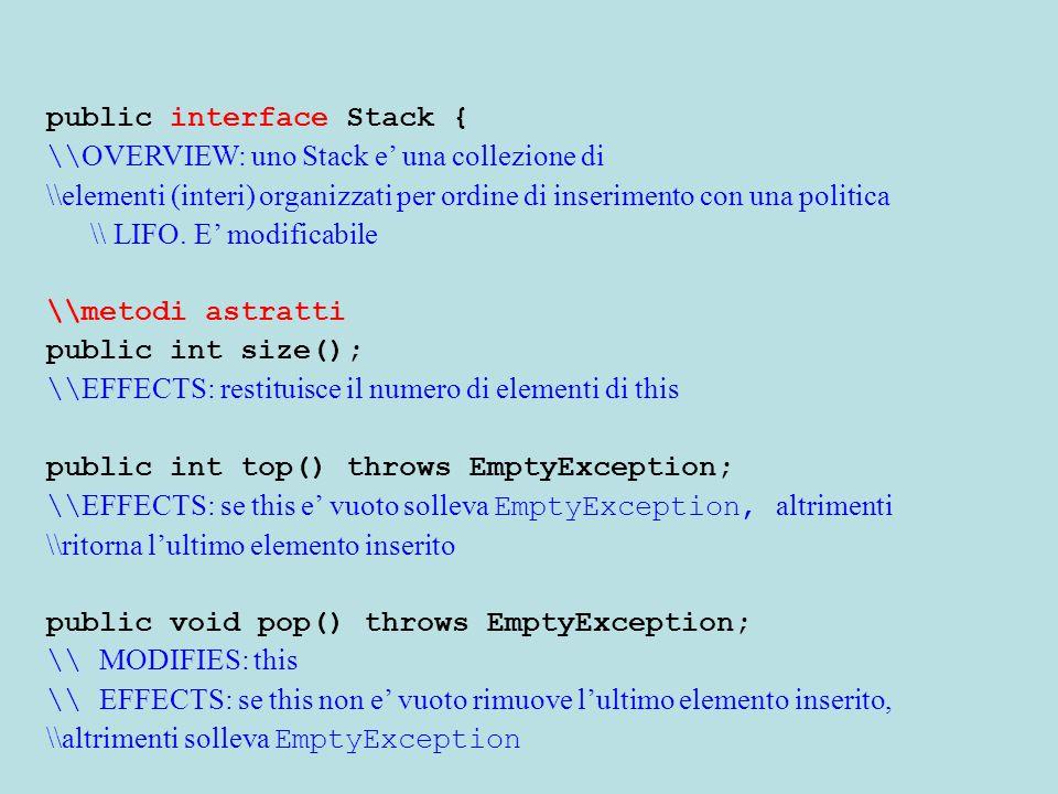 public class VectorStack extends Stack { \\ OVERVIEW: e' un sottotipo di Stack private Vector pila; public VectorStack(){ \\ EFFECTS: inizializza this allo Stack vuoto super(); pila=new Vector();} \\metodi concreti (specifica uguale) public int top() throws EmptyException{ if (sz==0) throw new EmptyException( Stack.top ); return ((Integer) pila.elementAt(pila.size()-1)).intValue();} public void pop() throws EmptyException{ if (sz==0) throw new EmptyException( Stack.top ); pila.removeelementAt(pila.size()-1); sz--;}