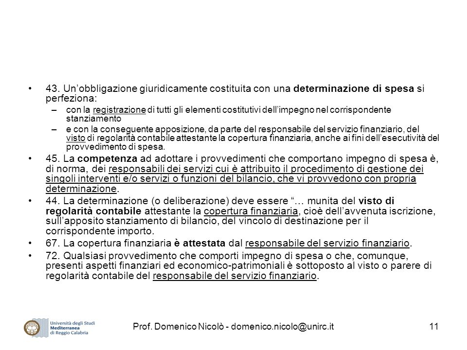 Prof.Domenico Nicolò - domenico.nicolo@unirc.it11 43.