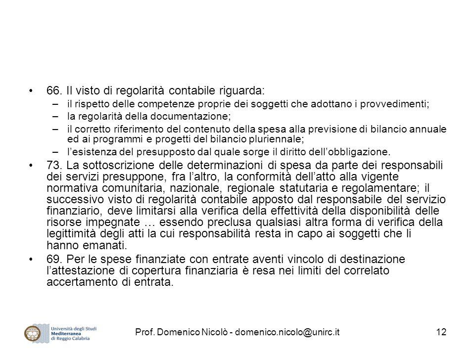Prof. Domenico Nicolò - domenico.nicolo@unirc.it12 66. Il visto di regolarità contabile riguarda: –il rispetto delle competenze proprie dei soggetti c