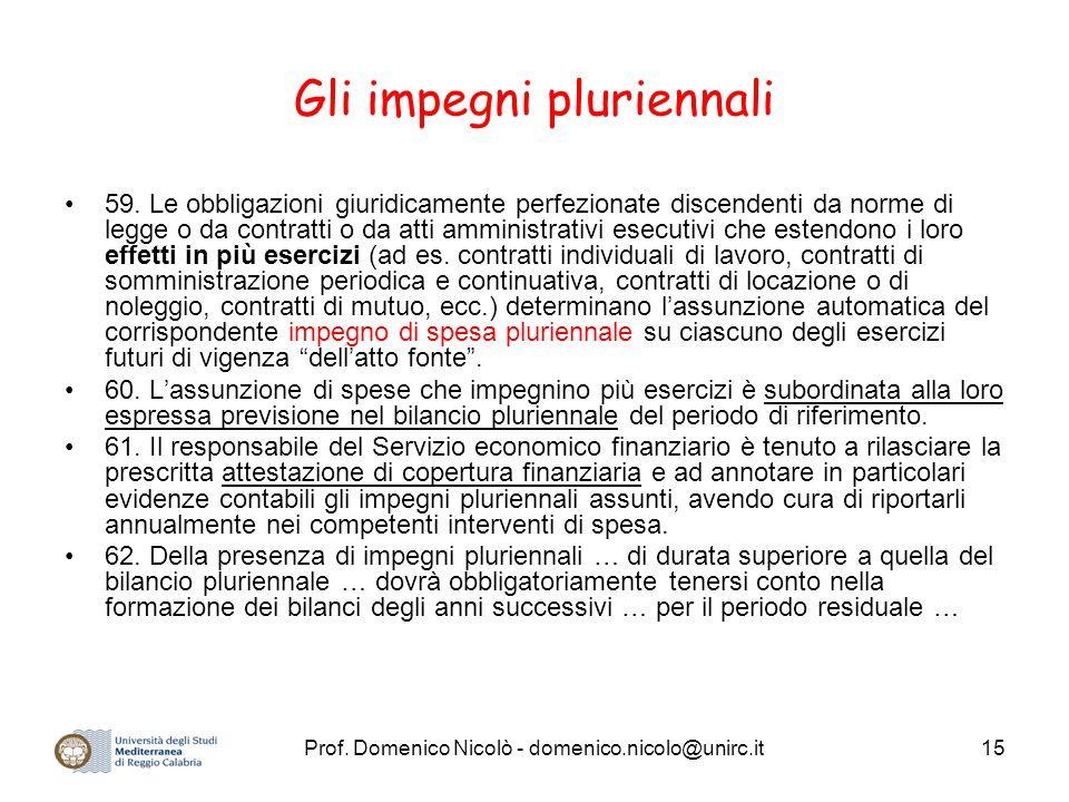 Prof. Domenico Nicolò - domenico.nicolo@unirc.it15 Gli impegni pluriennali 59. Le obbligazioni giuridicamente perfezionate discendenti da norme di leg