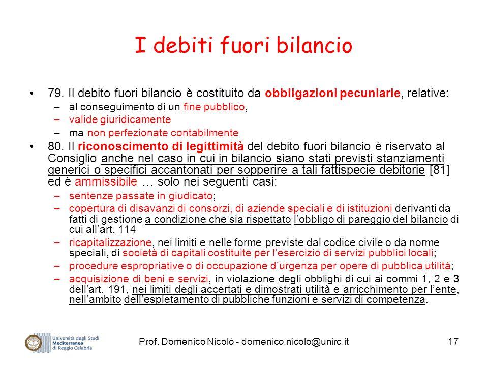 Prof. Domenico Nicolò - domenico.nicolo@unirc.it17 I debiti fuori bilancio 79. Il debito fuori bilancio è costituito da obbligazioni pecuniarie, relat