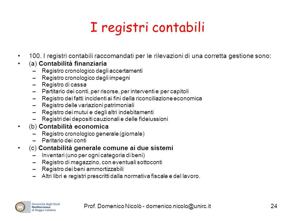Prof. Domenico Nicolò - domenico.nicolo@unirc.it24 I registri contabili 100. I registri contabili raccomandati per le rilevazioni di una corretta gest