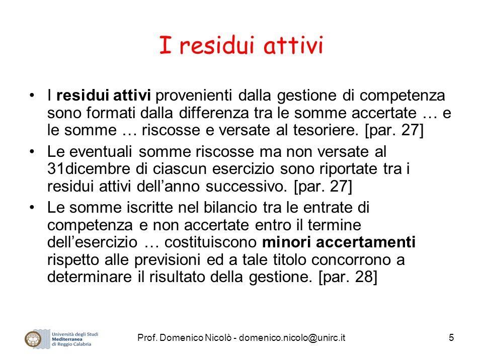 Prof. Domenico Nicolò - domenico.nicolo@unirc.it5 I residui attivi I residui attivi provenienti dalla gestione di competenza sono formati dalla differ