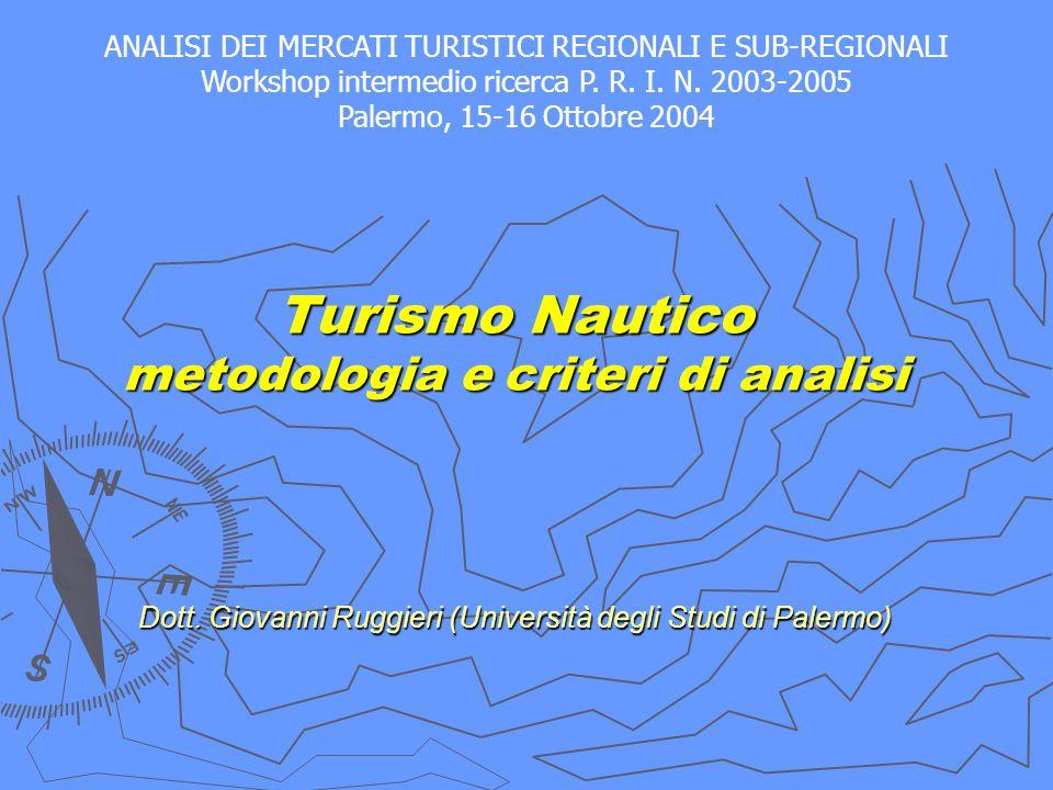 Turismo Nautico metodologia e criteri di analisi Dott. Giovanni Ruggieri (Università degli Studi di Palermo) Turismo Nautico metodologia e criteri di