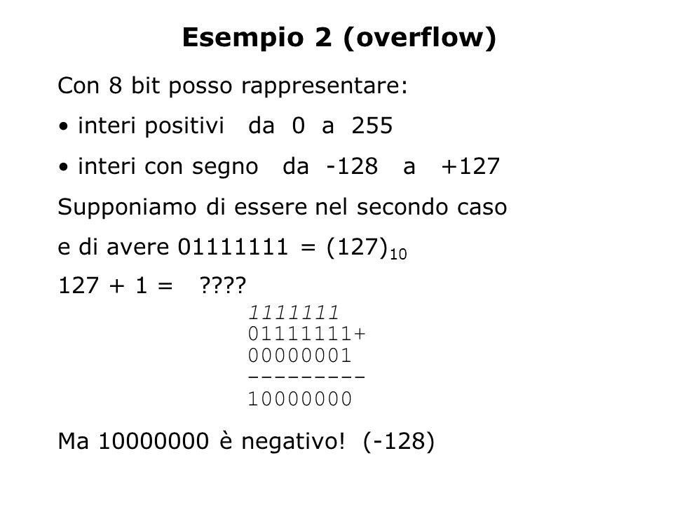 Esempio 2 (overflow) Con 8 bit posso rappresentare: interi positivi da 0 a 255 interi con segno da -128 a +127 Supponiamo di essere nel secondo caso e di avere 01111111 = (127) 10 127 + 1 = ???.