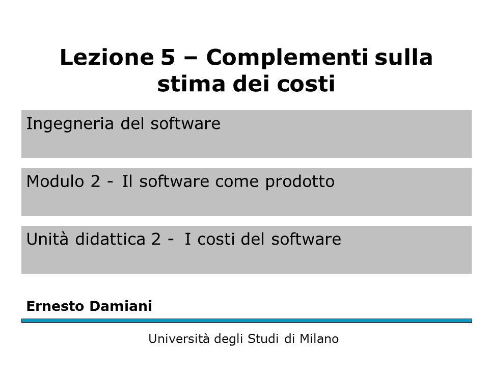Stima dei costi del software Obiettivi Approfondire tre metriche per la valutazione della produttività del software Spiegare perché per la stima del software bisognerebbe usare tecniche diverse Descrivere in maggior dettaglio i principi del modello algoritmico di stima dei costi COCOMO II