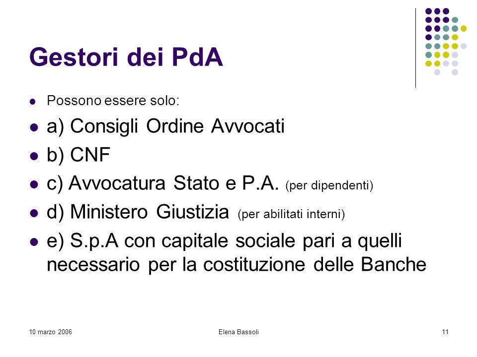 10 marzo 2006Elena Bassoli11 Gestori dei PdA Possono essere solo: a) Consigli Ordine Avvocati b) CNF c) Avvocatura Stato e P.A.