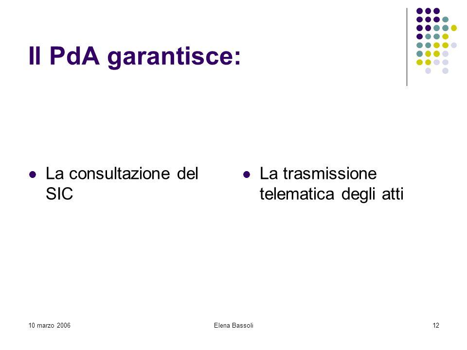 10 marzo 2006Elena Bassoli12 Il PdA garantisce: La consultazione del SIC La trasmissione telematica degli atti