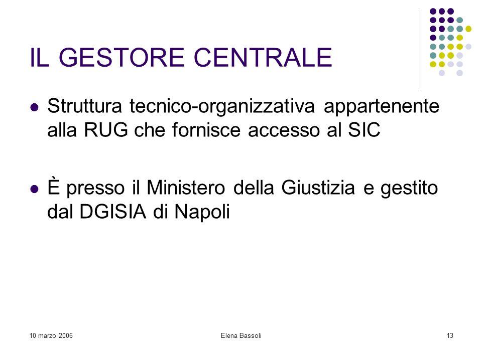 10 marzo 2006Elena Bassoli13 IL GESTORE CENTRALE Struttura tecnico-organizzativa appartenente alla RUG che fornisce accesso al SIC È presso il Ministero della Giustizia e gestito dal DGISIA di Napoli