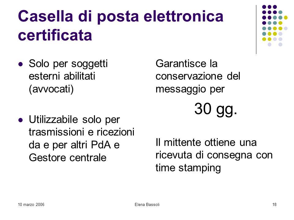10 marzo 2006Elena Bassoli18 Casella di posta elettronica certificata Solo per soggetti esterni abilitati (avvocati) Utilizzabile solo per trasmissioni e ricezioni da e per altri PdA e Gestore centrale Garantisce la conservazione del messaggio per 30 gg.