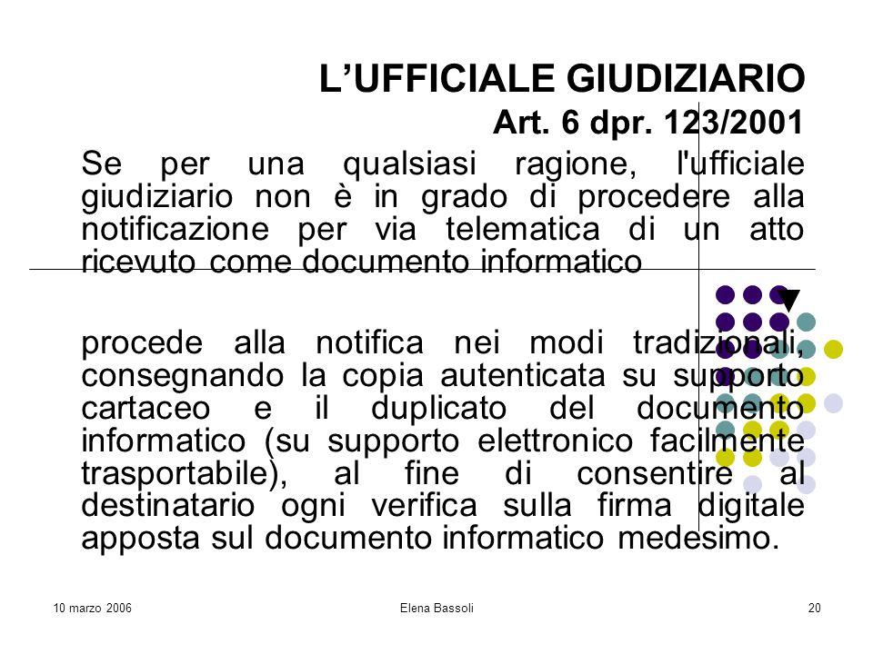 10 marzo 2006Elena Bassoli20 L'UFFICIALE GIUDIZIARIO Art.