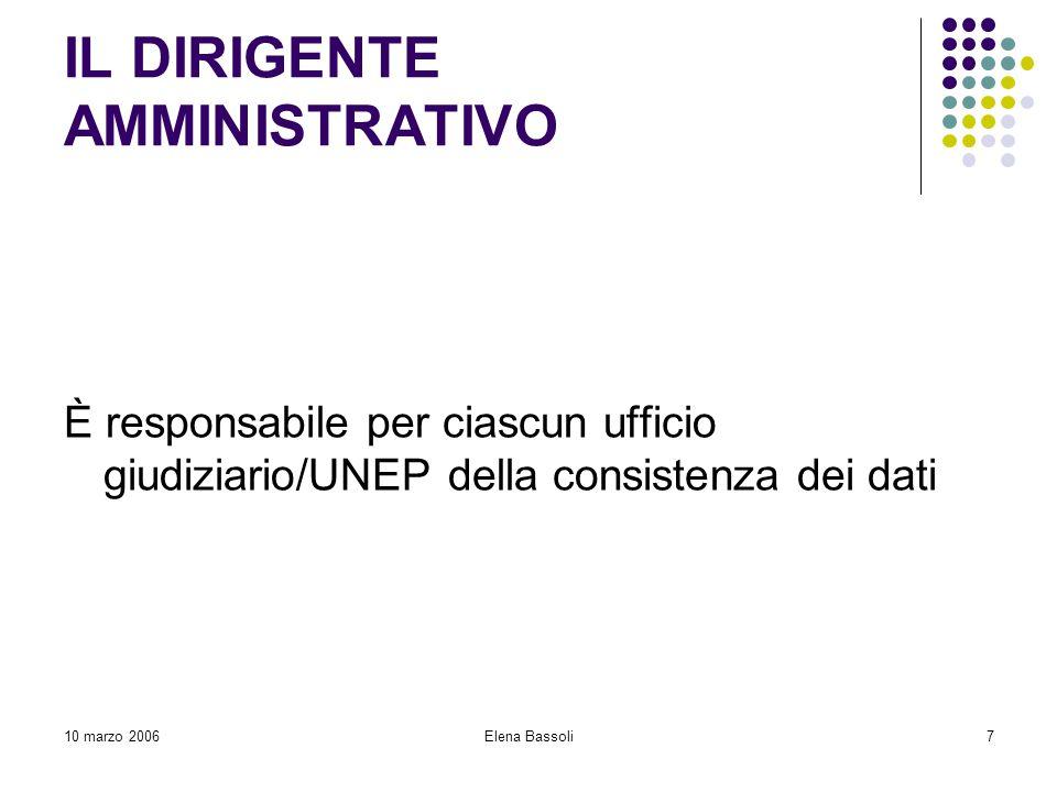 10 marzo 2006Elena Bassoli7 IL DIRIGENTE AMMINISTRATIVO È responsabile per ciascun ufficio giudiziario/UNEP della consistenza dei dati