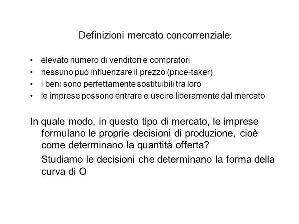 CURVA DI OFFERTA DEL MERCATO CONCORRENZIALE Quelle analizzate finora sono curve di O della singola impresa.