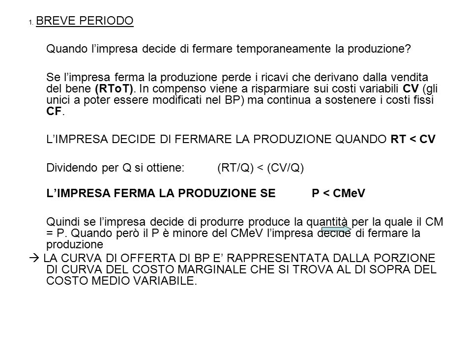 Lungo periodo Costi Ricavi Q Q CM CMeT P=RM=RMe O_BP_1 O_LP D1 A Q1 P1 D2 Q2 B O_BP_2 Q3 C