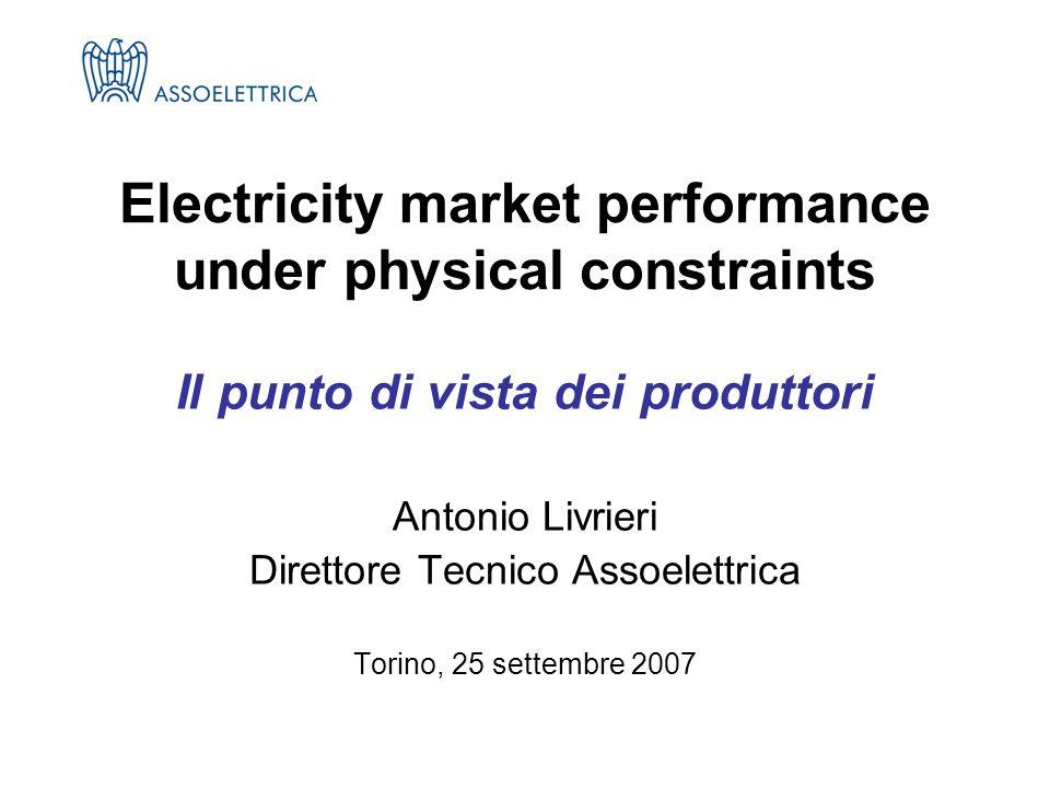 Il punto di vista dei produttori Antonio Livrieri Direttore Tecnico Assoelettrica Torino, 25 settembre 2007 Electricity market performance under physical constraints