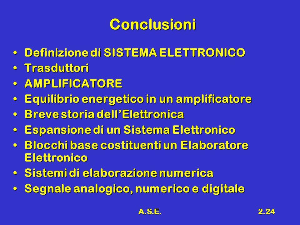 A.S.E.2.24 Conclusioni Definizione di SISTEMA ELETTRONICODefinizione di SISTEMA ELETTRONICO TrasduttoriTrasduttori AMPLIFICATOREAMPLIFICATORE Equilibrio energetico in un amplificatoreEquilibrio energetico in un amplificatore Breve storia dell'ElettronicaBreve storia dell'Elettronica Espansione di un Sistema ElettronicoEspansione di un Sistema Elettronico Blocchi base costituenti un Elaboratore ElettronicoBlocchi base costituenti un Elaboratore Elettronico Sistemi di elaborazione numericaSistemi di elaborazione numerica Segnale analogico, numerico e digitaleSegnale analogico, numerico e digitale