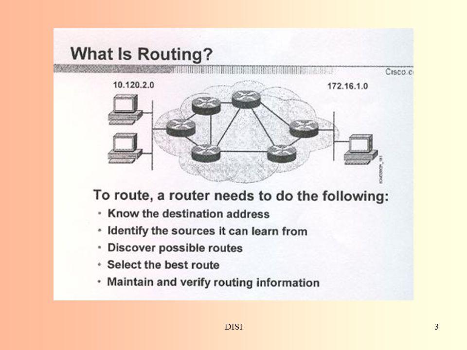 DISI14 Classful Routing overview I Classful routing protocol non includono la subnet mask nei routing advertisement generati da molti distance vector routing protocol All'interno dello stesso network, si presume la consistenza delle subnet mask Summary routes sono scambiati fra foreign network Esempi di classful routing protocol –Rip Versione 1 (RIPv1) –IGRP
