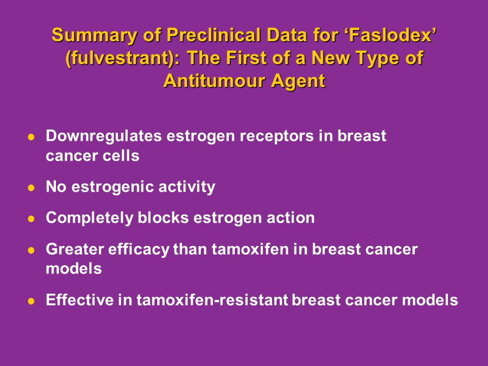 Summary of Preclinical Data for 'Faslodex' (fulvestrant): The First of a New Type of Antitumour Agent Downregulates estrogen receptors in breast cance