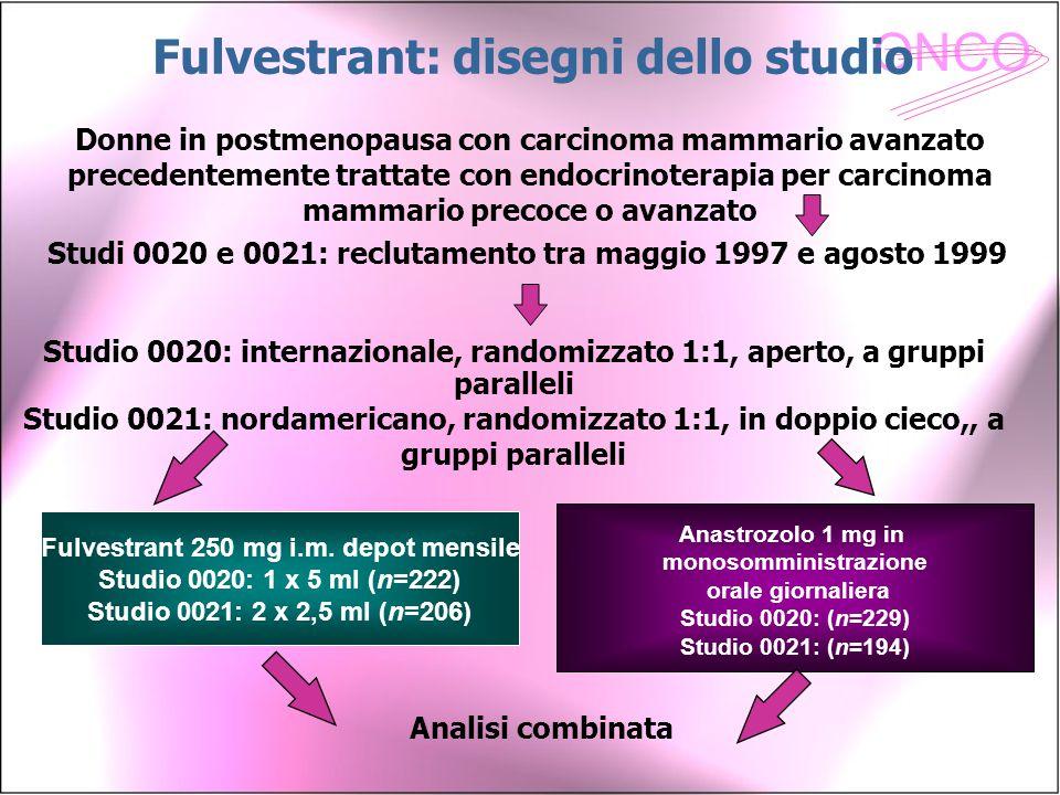 ONCO Fulvestrant: disegni dello studio Donne in postmenopausa con carcinoma mammario avanzato precedentemente trattate con endocrinoterapia per carcin