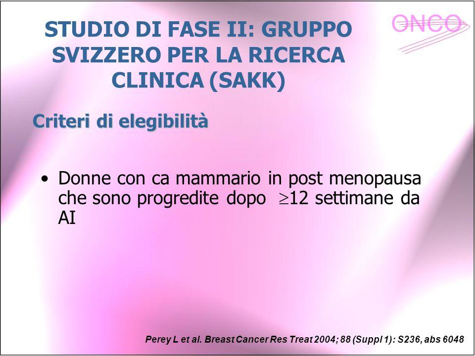 ONCO Donne con ca mammario in post menopausa che sono progredite dopo  12 settimane da AI Perey L et al. Breast Cancer Res Treat 2004; 88 (Suppl 1):